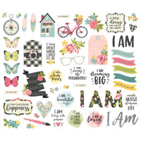 Carpe Diem - Simple Stories - I Am Bits & Pieces Die Cuts with Platinum Foil