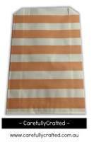 12 Favour Paper Bags - Horizontal Stripe - Peach #FB52
