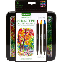 Crayola Signature Sketch & Detail Dual-Tip Markers with Tin