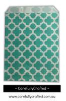 """12 Favour Paper Bags 5"""" x 7"""" - Quatrefoil - Aqua #FB60"""