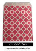 """12 Favour Paper Bags 5"""" x 7"""" - Quatrefoil - Hot Pink #FB63"""