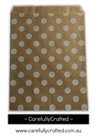 "12 Favour Paper Bags 5"" x 7"" - Polka Dots - Kraft #FB66"