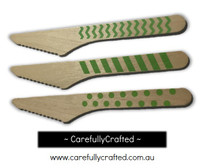 10 Wood Cutlery Knifes - Green - Polka Dot, Stripe, Chevron #WK3