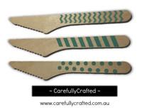 10 Wood Cutlery Knifes - Aqua - Polka Dot, Stripe, Chevron #WK5
