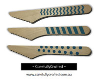 10 Wood Cutlery Knifes - Blue - Polka Dot, Stripe, Chevron #WK11