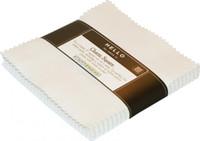 Robert Kaufman Fabric Precuts - 5 inch Squares - Kona Cotton - Snow Colorway