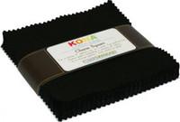 Robert Kaufman Fabric Precuts - 5 inch Squares - Kona Cotton - Black Colorway