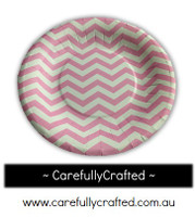 16 Paper Plates - Pink - Chevron #PP3