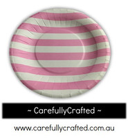 16 Paper Plates - Pink - Stripes #PP4