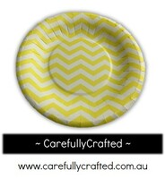 16 Paper Plates - Yellow - Chevron #PP7