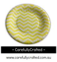 16 Paper Plates - Yellow - Chevron #PP7