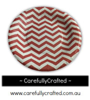 16 Paper Plates - Red - Chevron #PP12
