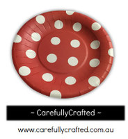 16 Paper Plates - Red - Polka Dot #PP13
