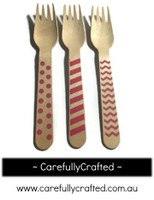 10 Wood Cutlery Forks - Pink - Polka Dot, Stripe, Chevron #WF1