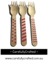 10 Wood Cutlery Forks - Pink - Polka Dot, Stripe, Chevron #WF1