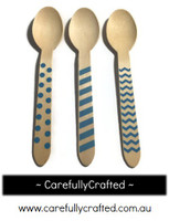 10 Wood Cutlery Spoons - Blue - Polka Dot, Stripe, Chevron #WSC5