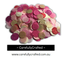 1/2 Cup Tissue Paper Confetti - Gold, Pink, Red and White - 1 inch Circles  - #CC4
