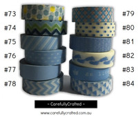 Washi Tape - Blue - 15mm x 10 metres - High Quality Masking Tape - #73 - #84