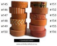 Washi Tape - Orange - 15mm x 10 metres - High Quality Masking Tape - #145 - #156