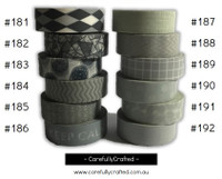 Washi Tape - Grey - 15mm x 10 metres - High Quality Masking Tape - #181 - #192