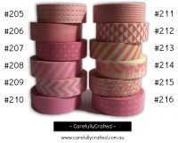 Washi Tape - Pink - 15mm x 10 metres - High Quality Masking Tape - #205 - #216