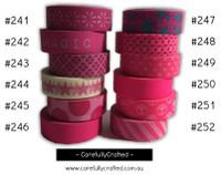 Washi Tape - Pink - 15mm x 10 metres - High Quality Masking Tape - #241 - #252