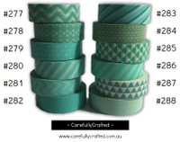 Washi Tape - Aqua - 15mm x 10 metres - High Quality Masking Tape - #277 - #288