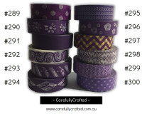 Washi Tape - Purple - 15mm x 10 metres - High Quality Masking Tape - #289 - #300