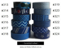 Washi Tape - Blue - 15mm x 10 metres - High Quality Masking Tape - #313 - #324