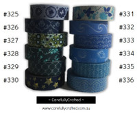 Washi Tape - Blue - 15mm x 10 metres - High Quality Masking Tape - #325 - #336