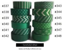 Washi Tape - Green - 15mm x 10 metres - High Quality Masking Tape - #337 - #348