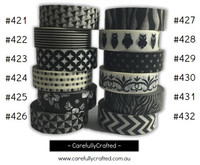 Washi Tape - Black - 15mm x 10 metres - High Quality Masking Tape - #421 - #432
