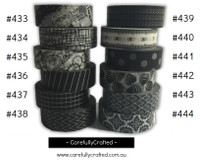 Washi Tape - Black - 15mm x 10 metres - High Quality Masking Tape - #433 - #444