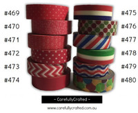 Washi Tape - Pink, Red, Blue and Green - 15mm x 10 metres - High Quality Masking Tape - #469 - #480