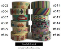 Washi Tape -  Rainbow - 15mm x 10 metres - High Quality Masking Tape - #505 - #516