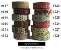 Washi Tape -  Rainbow - 15mm x 10 metres - High Quality Masking Tape - #517 - #528
