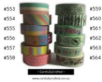 Washi Tape - Rainbow - 15mm x 10 metres - High Quality Masking Tape - #553 - #564