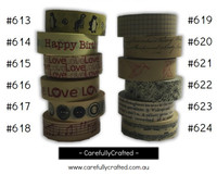 Washi Tape - Rainbow - 15mm x 10 metres - High Quality Masking Tape - #613 - #624