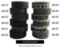 Washi Tape - Black - 15mm x 10 metres - High Quality Masking Tape - #637 - #648