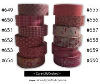 Washi Tape - Pink - 15mm x 10 metres - High Quality Masking Tape - #649 - #660