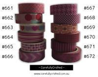 Washi Tape - Pink - 15mm x 10 metres - High Quality Masking Tape - #661 - #672