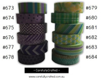 Washi Tape - Purple and Green - 15mm x 10 metres - High Quality Masking Tape - #673 - #684