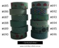 Washi Tape - Blue and Aqua - 15mm x 10 metres - High Quality Masking Tape - #685 - #696