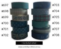 Washi Tape - Blue - 15mm x 10 metres - High Quality Masking Tape - #697 - #708