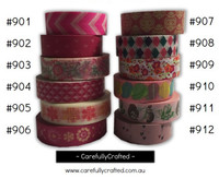 Washi Tape - Pink - 15mm x 10 metres - High Quality Masking Tape - #901- #912