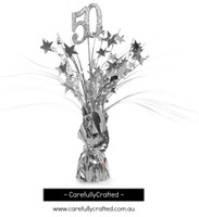 50th Balloon Centrepiece Weight - Silver