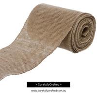 Hessian Burlap Natural Jute Roll - Sewn Edge - 15cm x 10metres