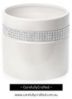 Ceramic Cylinder Diamante - White