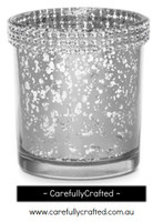 12 Diamante Glass Candle Holders - Silver