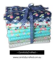 Moda Fabric - Vintage Picnic - Bonnie and Camille - Half Metre Bundle - Navy/Aqua